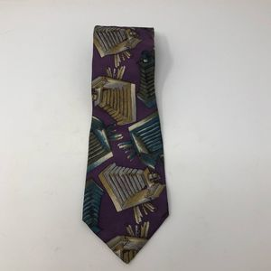 Adolfo Purple/Green/Gold Silk Tie 58 x 4